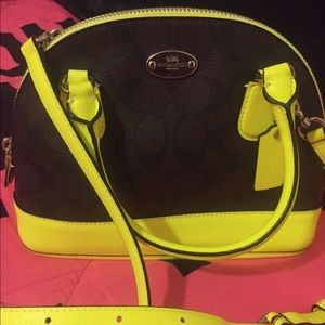 Coach neon yellow mini dome crossbody bag